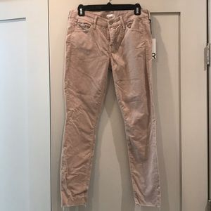 Mother looker ankle fray corduroy grey mist 28